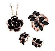Jewelry Set Elegant Crystal Camellia Flower Pendant Necklace Earrings Ring Girlfriend Gift