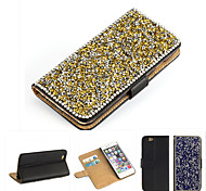 cristal bling de luxe& cuir de diamant sac flip pour iphone 6s 6 / iphone (de couleurs assorties)