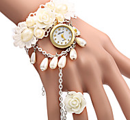 Women's Elegant White Rose Design Bracelet Quartz Wristwatch Cool Watches Unique Watches