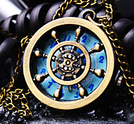 Unisex Round Dial Personality Pattern Retro Cartoon Fashion Quartz Necklace Watch Pocket Watch