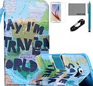 coco Fun® Karte Muster PU Ledertasche mit v8 USB-Kabel Film und Stylus für Samsung Galaxy S6 / S6 Rand / s6 Rand Plus