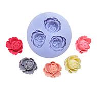 Flores Três Buracos Flor Silicone Mold Fondant Moldes Sugar Craft Ferramentas Resina molde para bolos