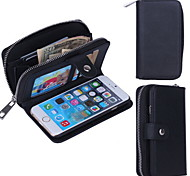 Zipper Wallet Pattern Wrist Strap Genuine Leather Wallet Cases for iPhone 6 (Assorted Colors)