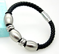 Fashion Men's Stainless Steel Weave Leather Bracelets
