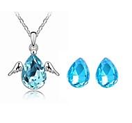 sistema de la joyería brillante elegante regalo collar pendiente del ala del ángel de cristal para la novia (color clasificado)
