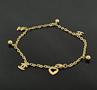 tobilleras descalzos jewlery de acero del pie cadena de oro de 18 quilates de acero de moda (1 unidad)