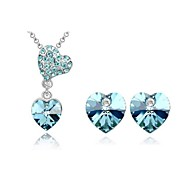 Jewelry Set Elegant Crystal Heart Pendant Necklace Earrings Girlfriend Gift