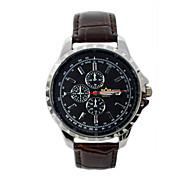 Men'S Leather Big Dial Quartz Watch Present Watches Gift Waterproof