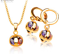 Colorful Zircon Pendants Necklaces Earrings crystal jewelry Set For Women 18K Gold Plated Fashion Jewelry Sets S20113