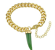 White Green Chili Shape Gold Plated Chain Bracelet