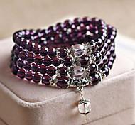 6mm Natural Genuine Purple/Yellow Crystal Gemstones  Elastic Stretch 108pcs Beaded Multilayer Strand Bracelet