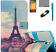 COCO FUN® Huang Tower Pattern PU Leather Case with V8 USB Cable Flim and Stylus for Samsung Galaxy Note 3/Note 4