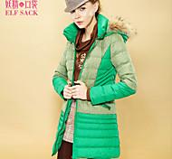 ELFSACK Women's Round Neck Long Sleeve Down & Parkas Pink / Green / Orange - 1332001