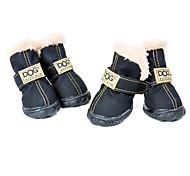 Dog Shoes & Boots Fashion / Waterproof Winter Solid Black / Green / Blue / Brown / Pink PU Leather