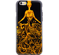 Chinoiserie Girl Dress IMD Printed Gliding TPU Soft Back Cover for iPhone 6/6S