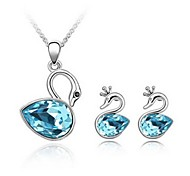 Jewelry Set Shining Crystal Elegant Swan Pendant Necklace Earring(Assorted Color)