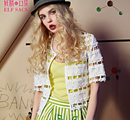 ELFSACK Femme Col Arrondi Manche Courtes Pull & Cardigan Bleu / Blanc / Rose - 1514043