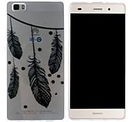 Mobile Shell funda protectora cáscara suave de TPU transparente colgando plumas patrón para Huawei p8 Lite