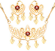 Luxury Crown Shape Jewelry Set Red Ruby 18k Gold Plated Fashion Chain Necklace Earrings Bridal Gift For Women S20152