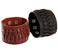 Punk Men's Wide Leather Bracelets