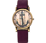 Unisex Fashion Watch Korean Fashion Stripe Anchor PU Band Quartz Watch Cool Watches Unique Watches