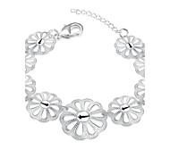 Korean-style Romantic Flowers Bracelet Women's Silver Plated Wristband Bracelet(Color:Silver)
