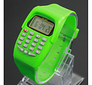 Kids' Charm Watch Calculator Calendar Quartz Digital Candy color Cool Watches Unique Watches Strap Watch