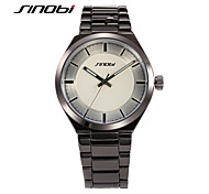 SINOBI Men Dress Watches Black Quartz Watch Round Surface Water Resistant Male's Business Battery Wristwatches