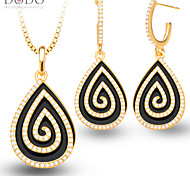 New Black Cyclotron Crystal Necklace Earring Women Fashion Jewelry Set 18K Gold Plated Vintage Party Jewelry Sets S20150