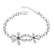 Korean-style Romantic Purple Crystal Flowers Bracelet Women's Silver Plated Wristband Bracelet(Color:Silver)