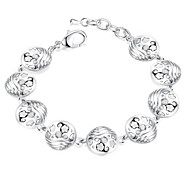 Lureme® Romantic Style Hollow Round with Flower Silver Plated Bracelets for Women