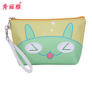 Makeup Storage Cosmetic Bag / Makeup Storage PU Cartoon Ellipse 22x6x13.5cm Blue / Pink