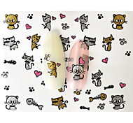 10PCS 3D Water Transfer Lovely Cat Nail Art Sticker DIY Decoration  Nail Tools Nail Tips BLE820D