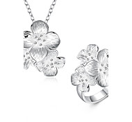 Romantic Flowers 2PCs Jewelry Set Women's Silver Plated Pendant Necklace and Ring Set(Color:Silver)