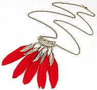 Women New Hot Vintage Bronze Hollow Feather Leaf Tassel Long Chain Pendant Necklace