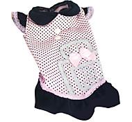 Dog Dress Black / Pink Spring/Fall Polka Dots / Bowknot Fashion