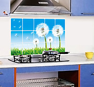 Removable Kitchen Oilproof Wall Stickers with Dandelion Style Water Resistant Home Art Decals