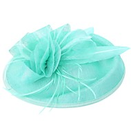 Lady's Linen Feather Fascinator Hat Headband for Wedding Party