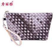 Makeup Storage Cosmetic Bag / Makeup Storage PU Lattice Ellipse 21.5x6.5x14cm Black / Purple / Rose