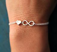 Silver Heart 8 Shape Chain & Link Bracelet