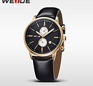 hommes Weide quartz de mode montre analogique marque bracelet en cuir de luxe