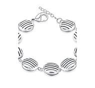 Korean-style Romantic Geometric Chain Bracelet Women's Silver Plated Wristband Bracelet(Color:Silver)