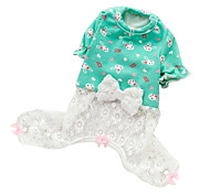 Dog Clothes/Jumpsuit Green / Pink Spring/Fall Bowknot Fashion