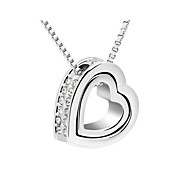 Austria Crystal Double Heart Pendant Necklace,Fine Jewelry