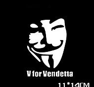 Funny  Vfor Vendetta Car Sticker Car Window Wall Decal Car Styling (1pcs)