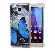Blue butterfly Grainy Inner Shockproof Air as TPU soft shell cover Case for Huawei Honor 5X