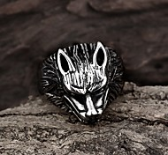 Wolf Restoring Ancient Ways is Exaggerated Stainless Steel Men's Ring