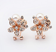 Wowen's New European Style Fashion Shiny Rhinestone Imitation Pearl Flower Stud Earrings