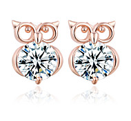 Allergy Free Gold Plated Women Stud Earrings European Style Luxury Zircon Insert Clean Owl Earrings