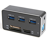 Super High Speed 3-Port USB 3.0 Hub & MS / SD / M2 / TF Card Reader - Black